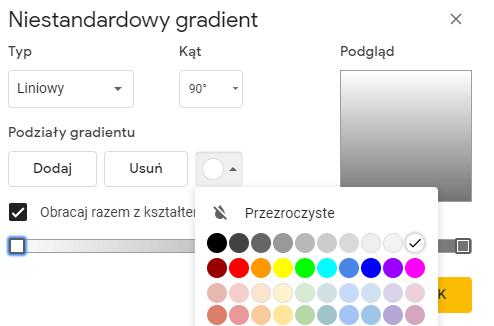 tworzenie gradientu w Prezentacjach Google